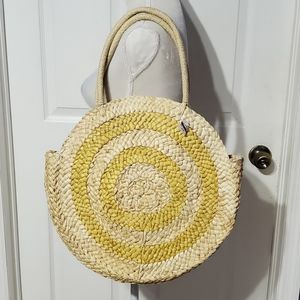 American Eagle Outfitters Yellow Straw Tote Bag